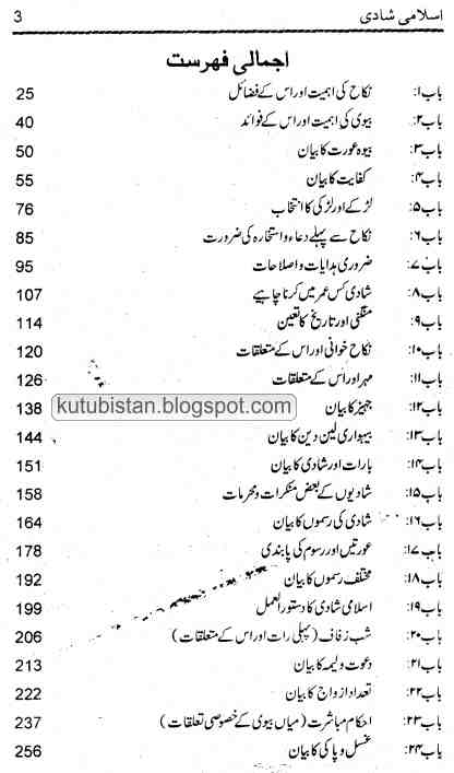 contents of the Urdu book Islami Shadi by Maulana Ashraf Ali Thanvi