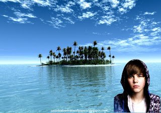 Desktop Wallpaper of Justin Bieber singer sad face in Paradise Island Desktop wallpaper