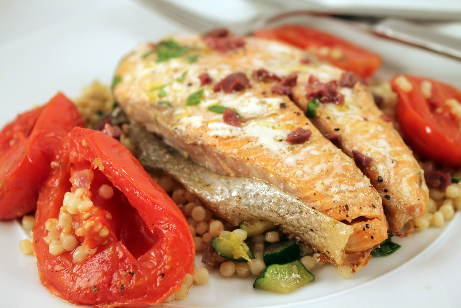 ... : Salmon with Slow Roasted Tomatoes and Vegetable Israeli Couscous