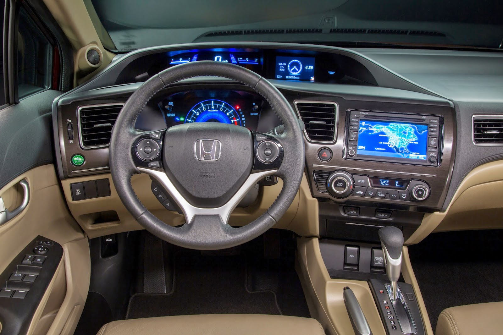Interior view of 2015 Honda Civic EX-L Sedan