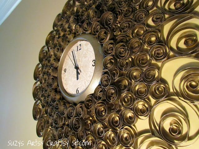 recycling paper: faux brass wall clock tutorial
