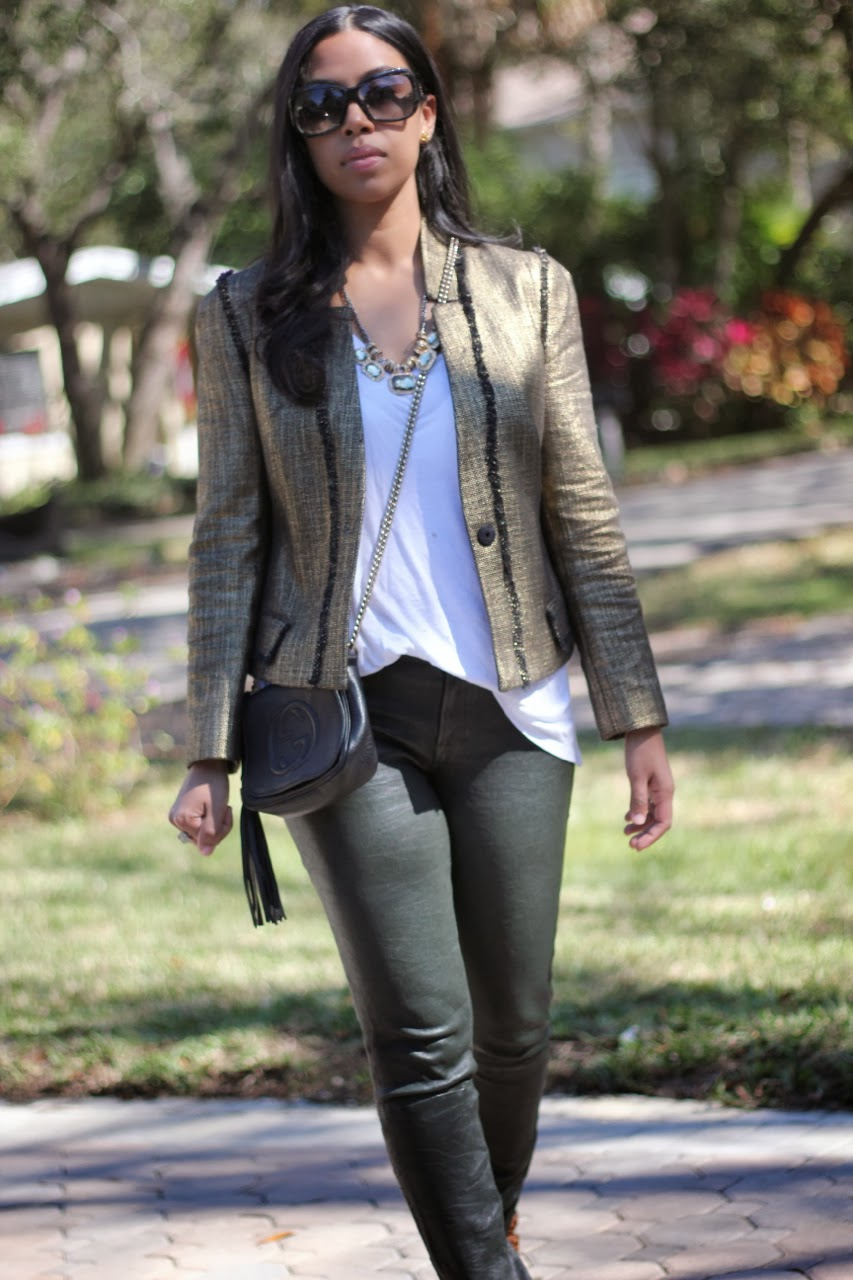 gold tweed jacket rachel zoe leopard sneakers rebecca mink off gucci marc jacobs