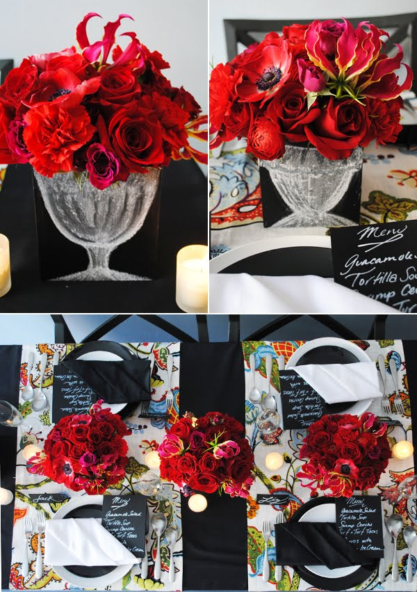 I am loving the color red lately and this creative tablescape from Brooklyn