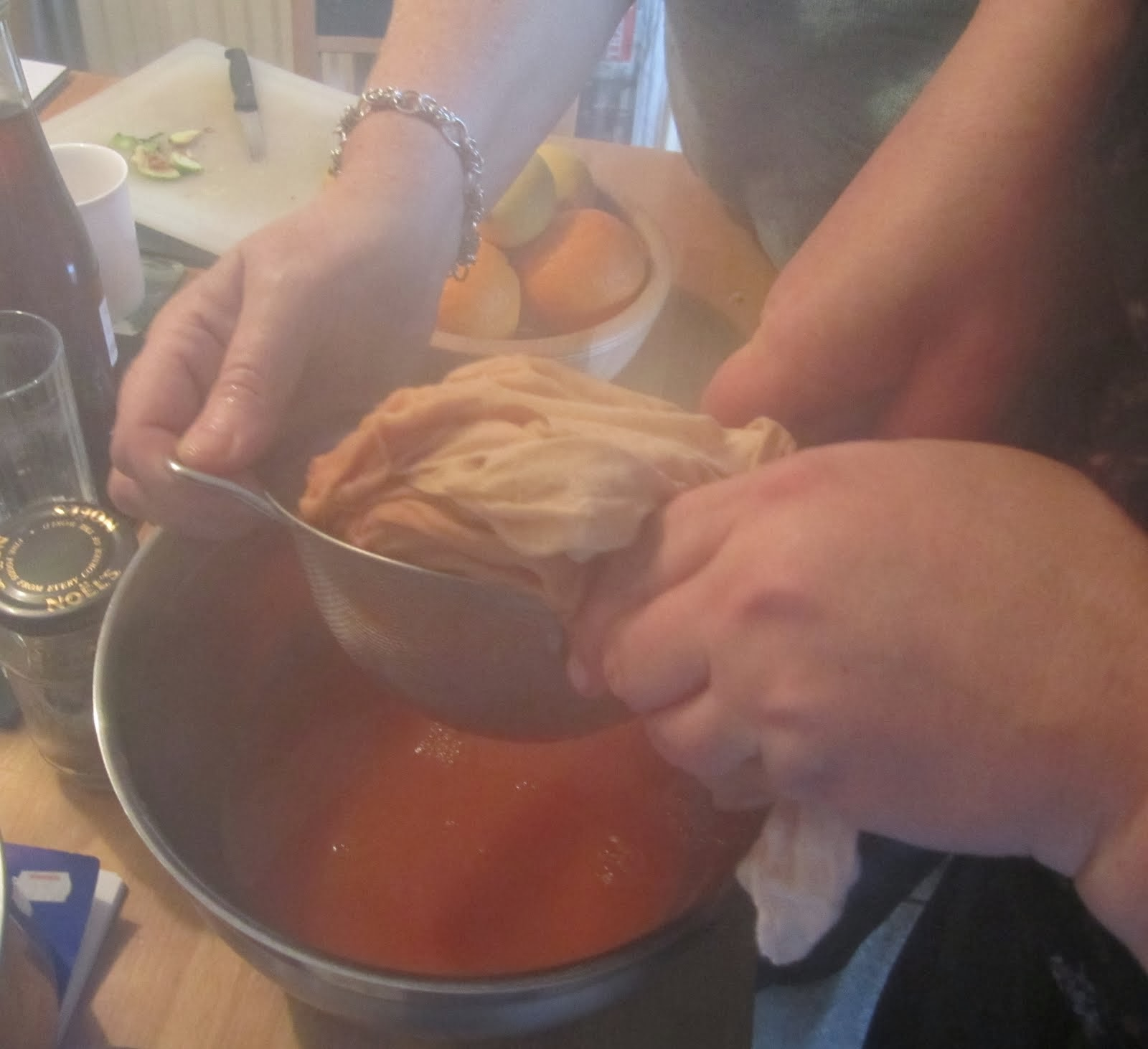 Straining rosehip decoction