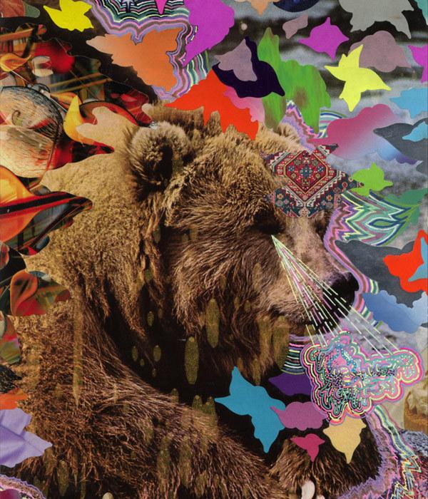 Hisham Akira Bharoocha psychedelic collage bear