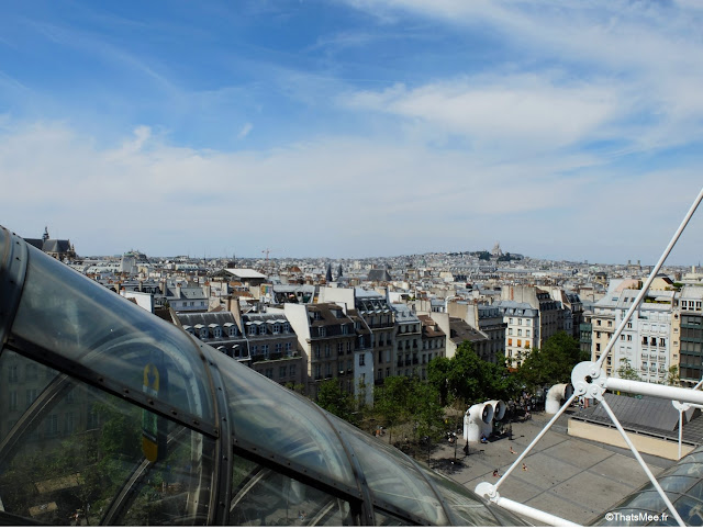 Beaubourg vue rooftop Le George tunnel escalator plexi