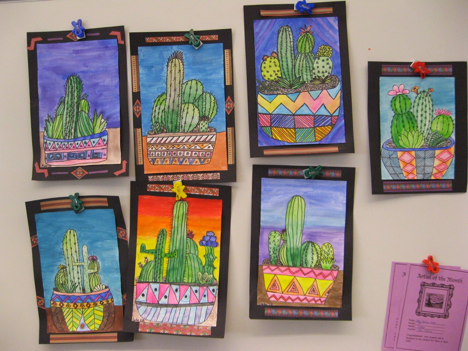 Art Lessons : Jamestown elementary art th grade mexican cacti