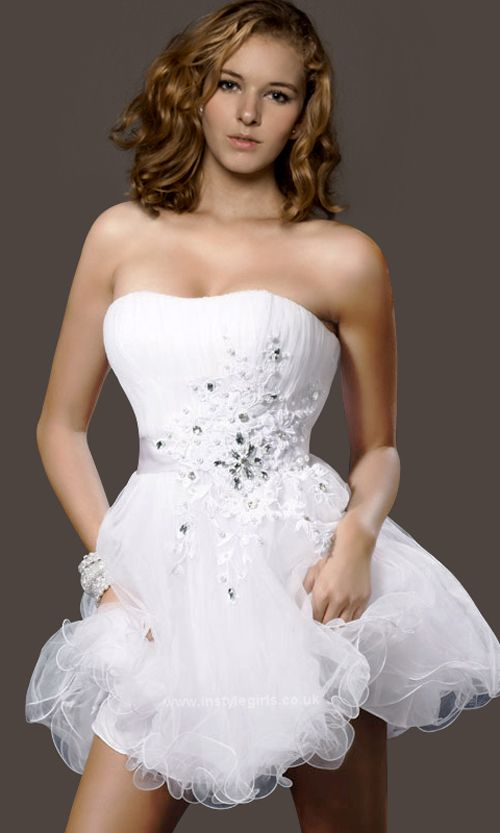 Fashion Time Beautiful White Strapless Sequined Baby Doll Cocktail