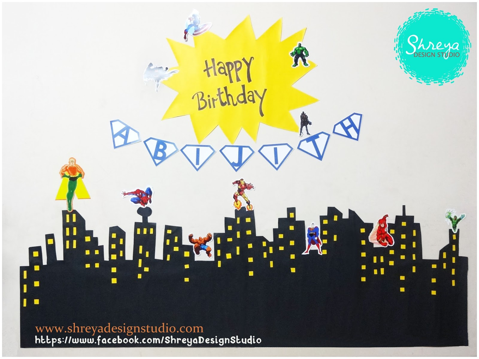 Cake Images With Name Shreya : Birthday Party Decoration- Theme: Marvel Avengers Shreya ...