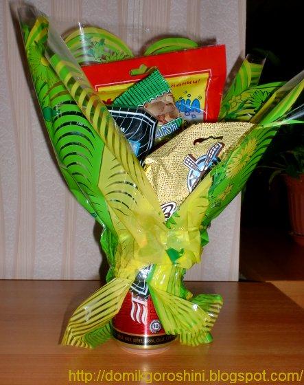 Цветы букеты на 23 февраля с пивом