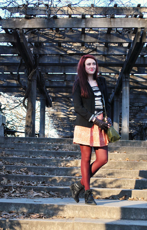 a style of your own blog, mollie booth parks, central park, fashion blog, outfit shoot, leather gloves, sneaker wedges, gold brooch