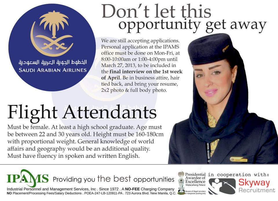 Trabahong Abroad Hiring For Flight Attendants Saudi Airline