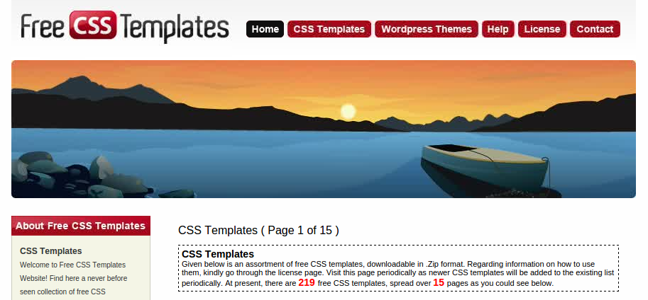 screenshot website penyedia template css gratis