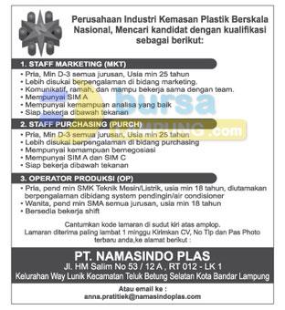 Recruitment PT. Namasindo Plas, Lowongan Kerja Lampung PT. Namasindo Plas