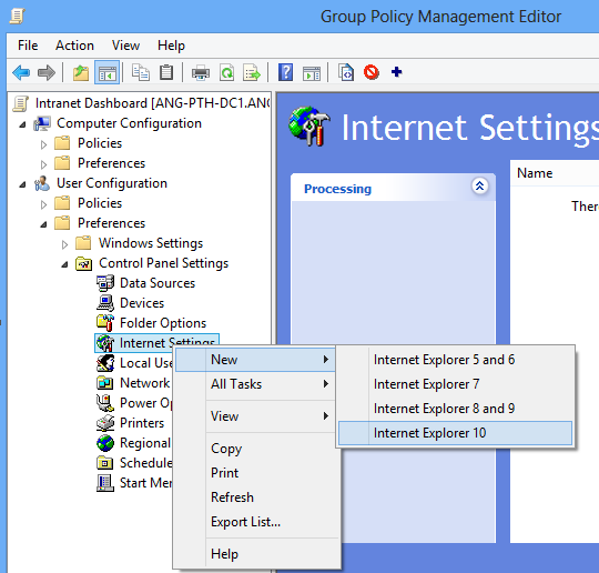 Blog changing home page for internet explorer 10 through group policy