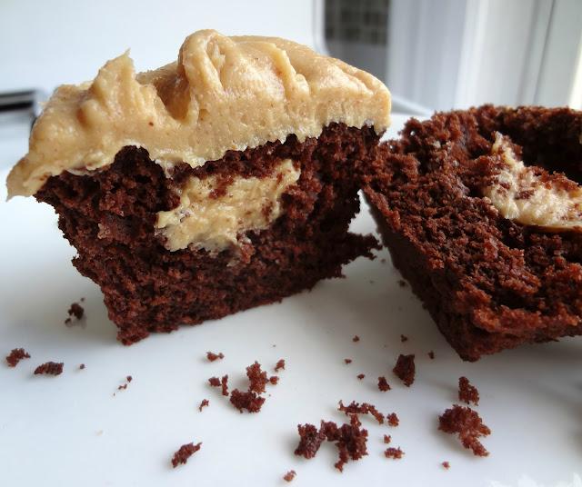 The Cooking Actress: Dark Chocolate Peanut Butter Cupcakes