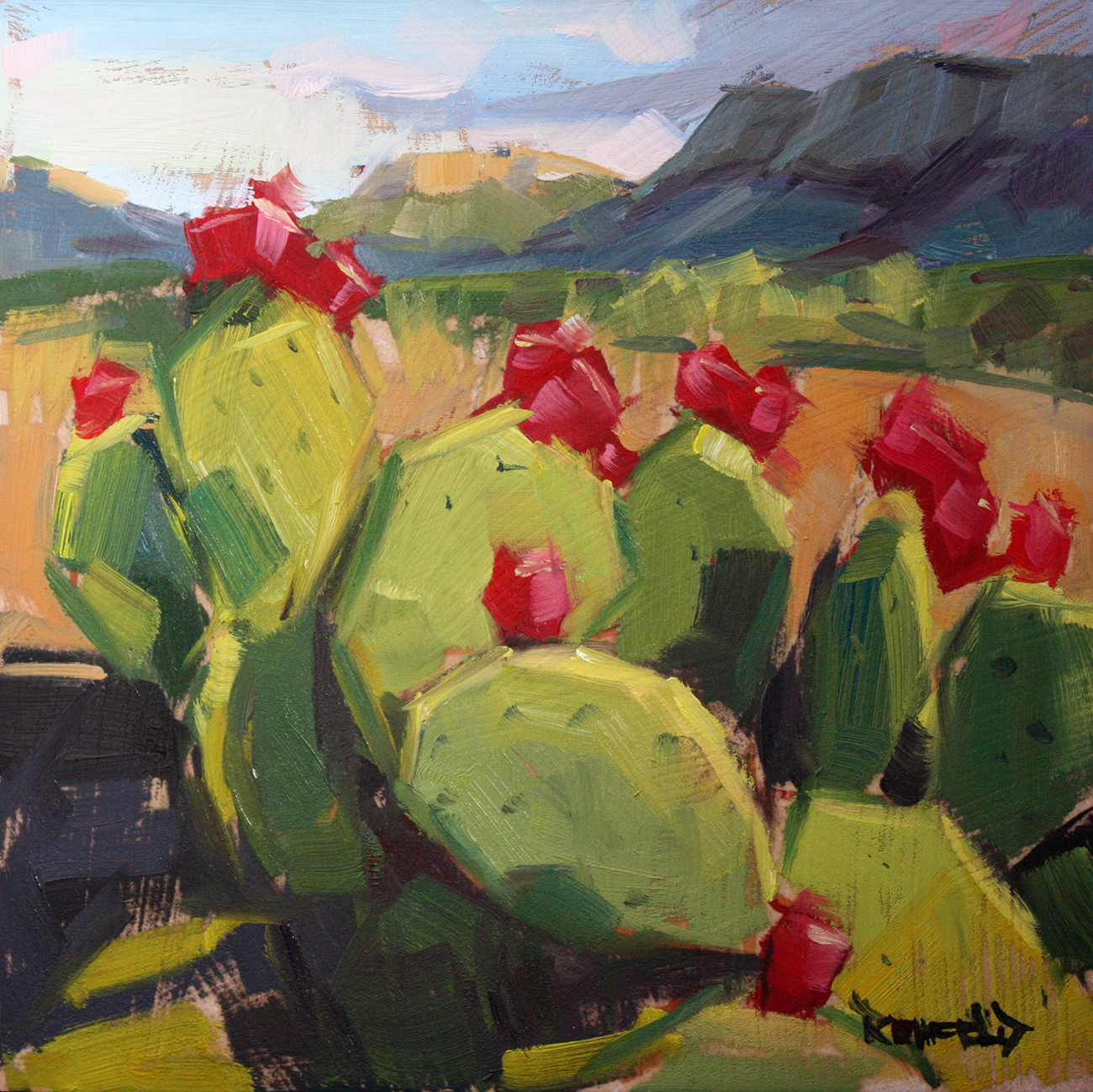 Cathleen rehfeld daily painting prickly pear cactus in for Oil art for sale
