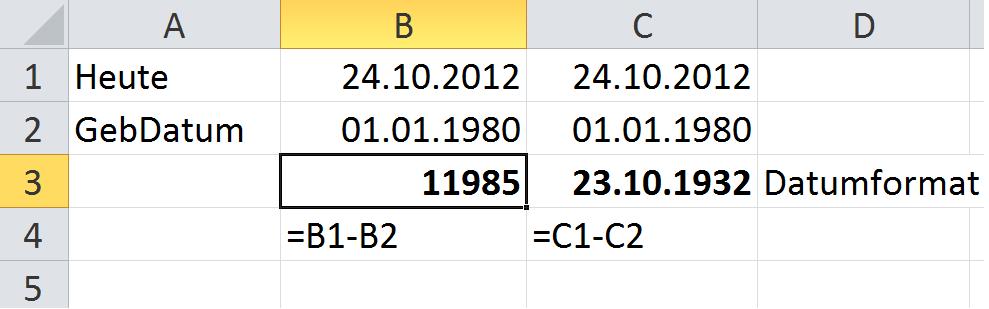 Excel - Alter in Tagen ausrechnen
