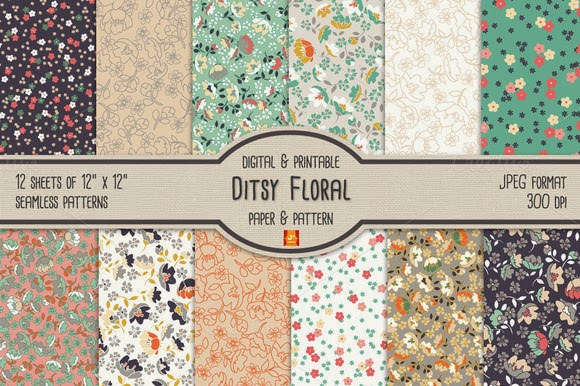 ditsy floral digital paper  u0026 pattern free download