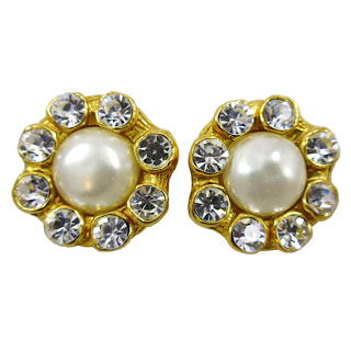 Vintage 1980's Chanel pearl and rhinestone earrings