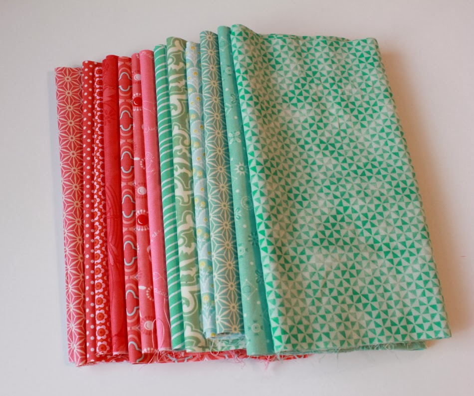 Coral and mint fabrics