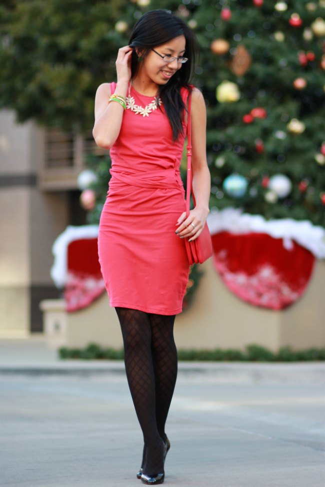 tight red dress christmas dinner outfit