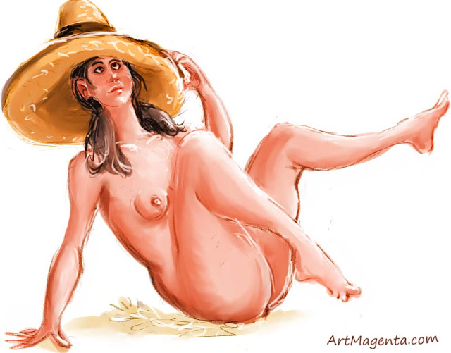 Sombrero is a life drawing by artist and illustrator Artmagenta