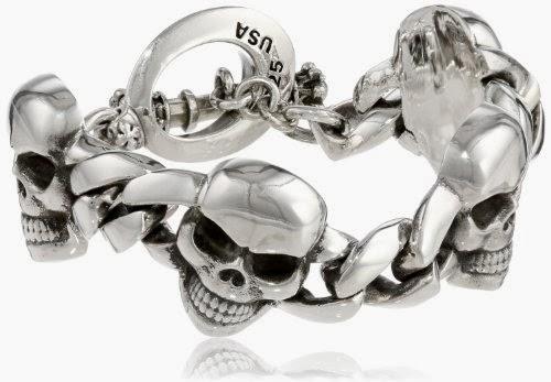 """King Baby Men's Classic Skull Link Bracelet, 8.75"""""""