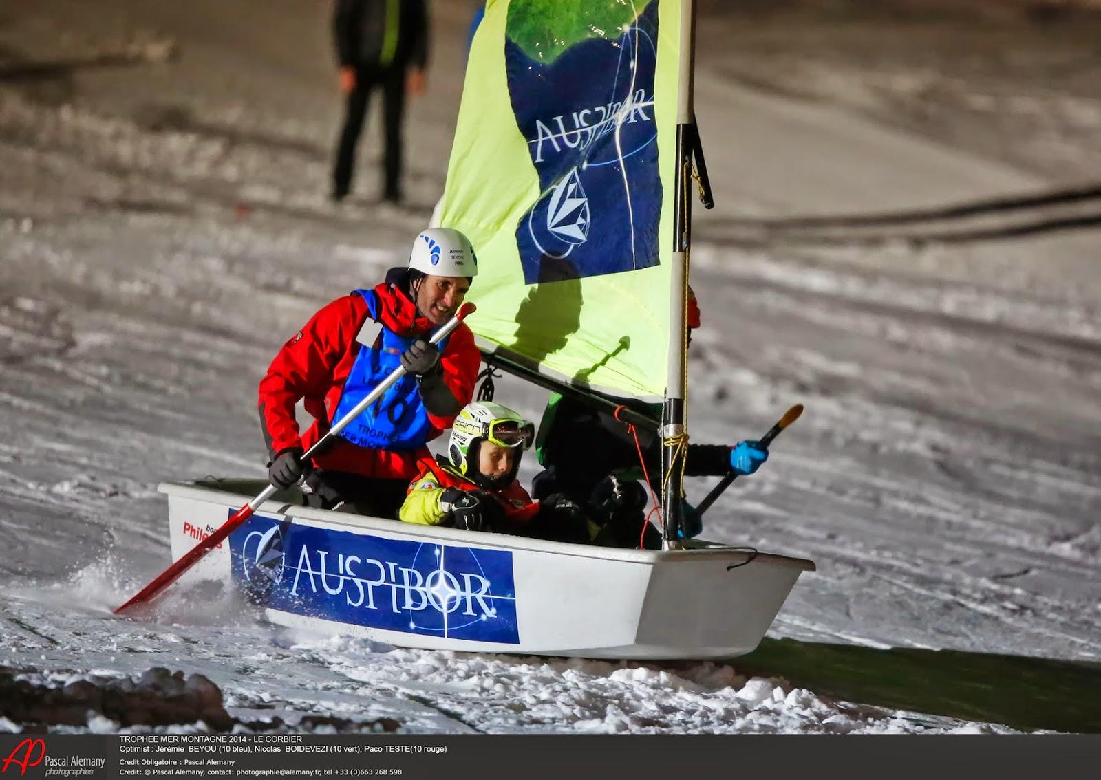 """Jérémie Beyou en """"Optimist sur neige"""" au Trophée Mer Montagne 2014."""