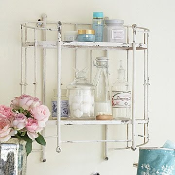 Distressed Cream Iron Wall Shelf by Primrose and Plum