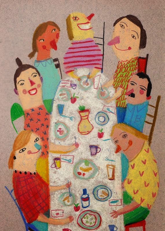 a big table for a family breakfast illustration by Tosya