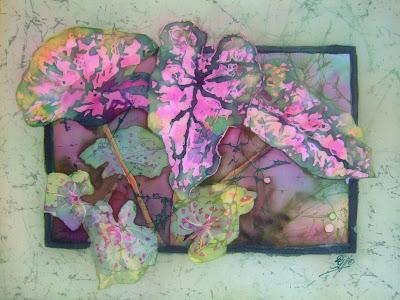 Deborah Younglao caladiums batik silk painting