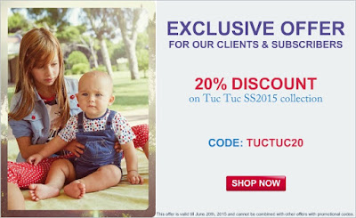 20% discount on all Tuc Tuc clothes and accessories from Spring/Summer 2015 collection.