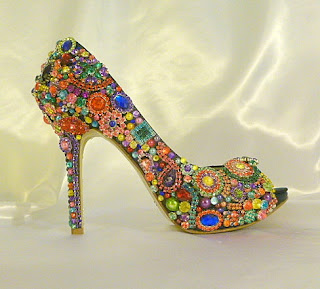 Colourful brooch peep toe bridal shoes by TLC Creations