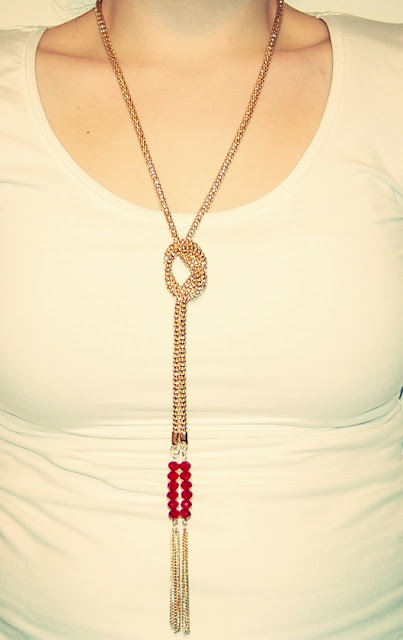 Gold lariat statement necklace