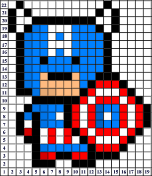 captain america pixel art templates minecraft pixel art building ideas. Black Bedroom Furniture Sets. Home Design Ideas