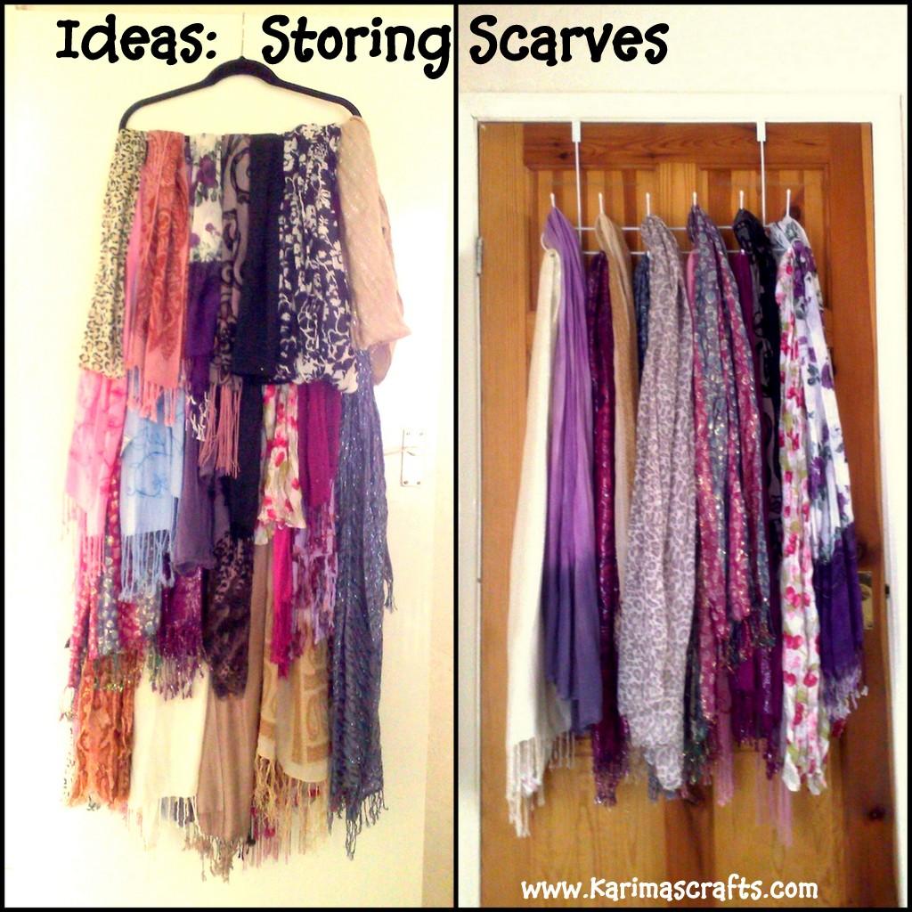 karima s crafts scarves storage ideas great ideas