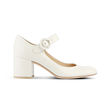 Gianvito Rossi white low block heel mary janes