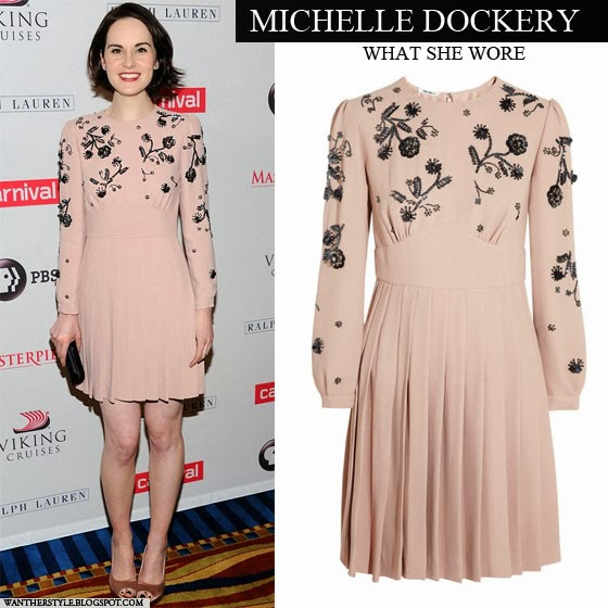 Michelle Dockery in light pink embroidered mini dress Want Her Style