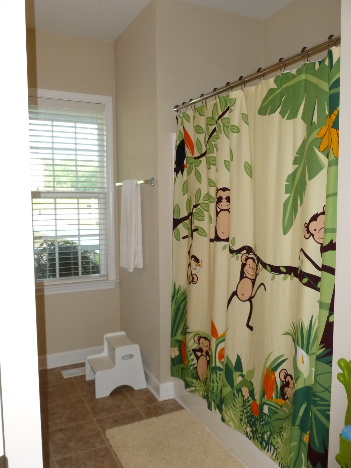 Shower curtains bed bath beyond - Monkey Curtain And Tissue Cover Are From Bed Bath And Beyond