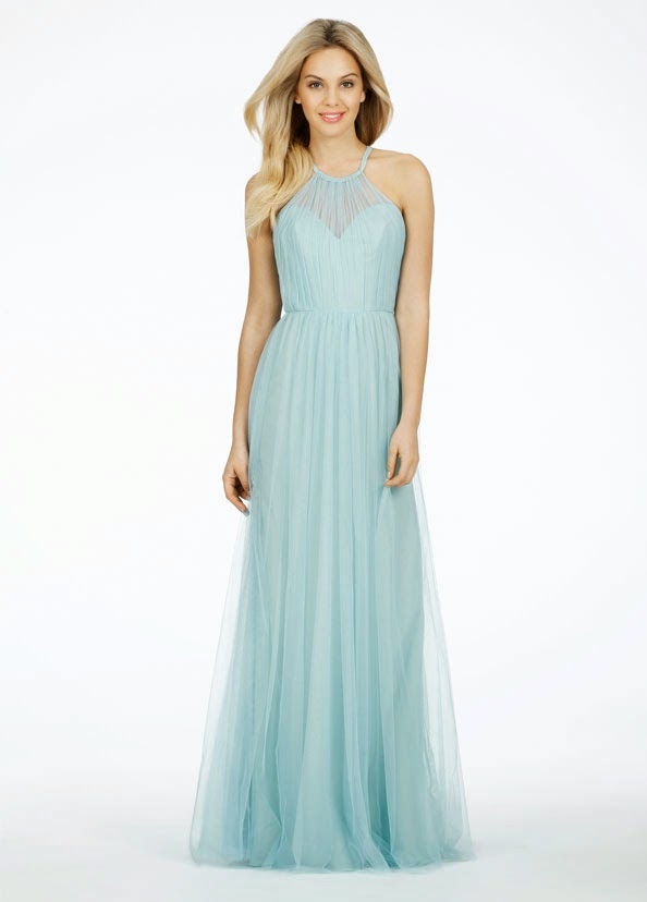 Sky Azure English internet A-line bridesmaid dresses that has a absolute halter lover neckline