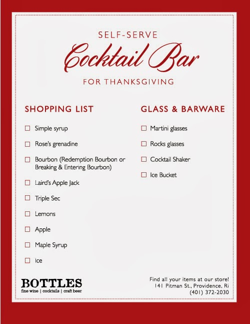 how to self serve cocktail bar for Thanksgiving idea