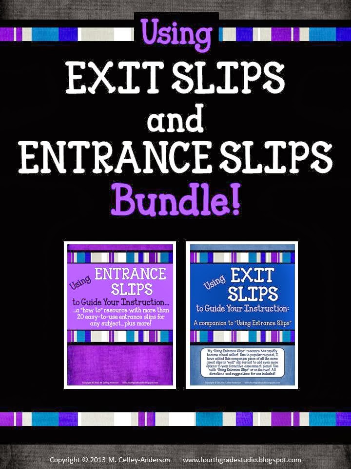 http://www.teacherspayteachers.com/Product/Using-Exit-and-Entrance-Slips-to-Guide-Instruction-BUNDLE-821305