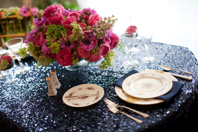 navy sequin linens hot pink flowers wedding