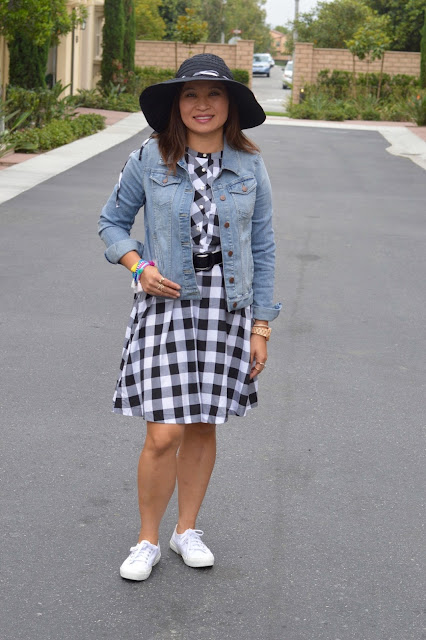 Gingham, denim jacket, superga platform sneakers