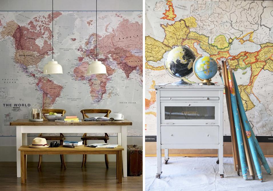 Ideas y consejos para decorar con mapas for Decoracion con fotos en pared