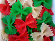 christmas bows-red & green dyed pasta