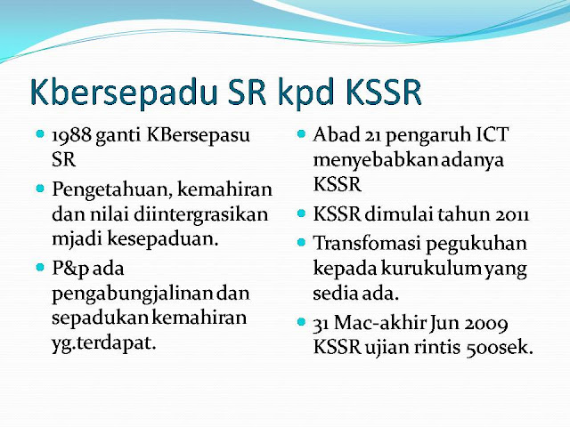 Kurikulum KLSR, KBSR dan KSSR