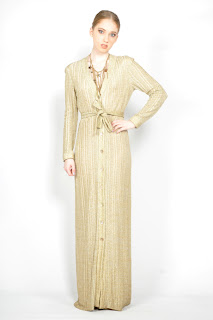 Vintage 1970's gold lurex button front maxi wrap dress with low v-neckline.