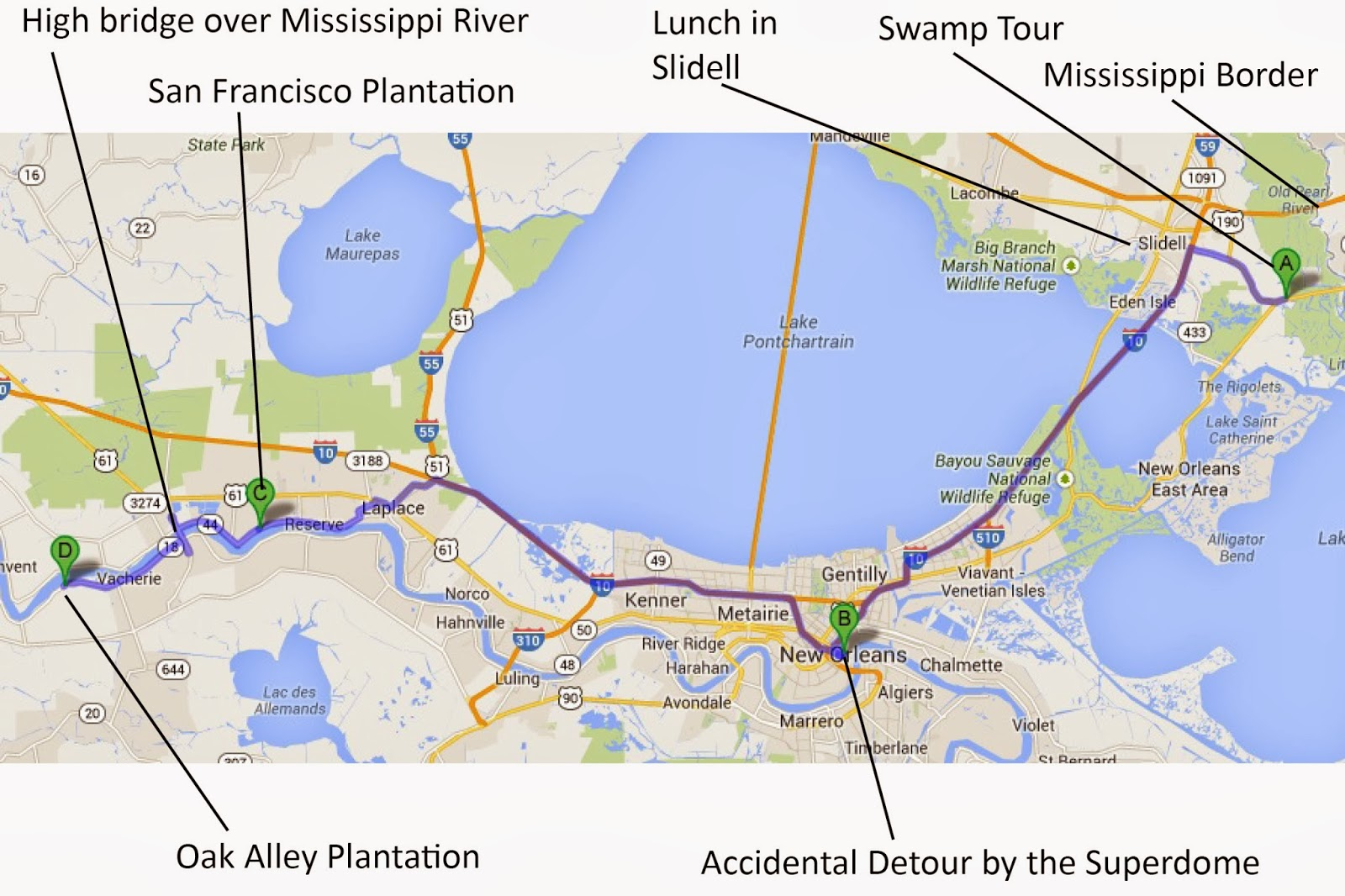 instead heading back towards new orleans so we could travel along the river road and spend the night in a cottage at oak alley here s a little map of